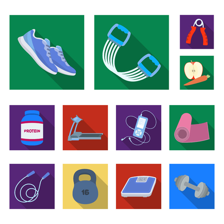 Gym and training flat icons in set collection for design. Gym and equipment vector symbol stock web illustration. Ilustração