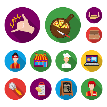 Pizza And Pizzeria Flat Icons In Set Collection For Design Staff Equipment Vector Symbol