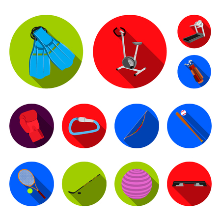 Different kinds of sports flat icons in set collection for design. Sport equipment vector symbol stock web illustration. Illustration