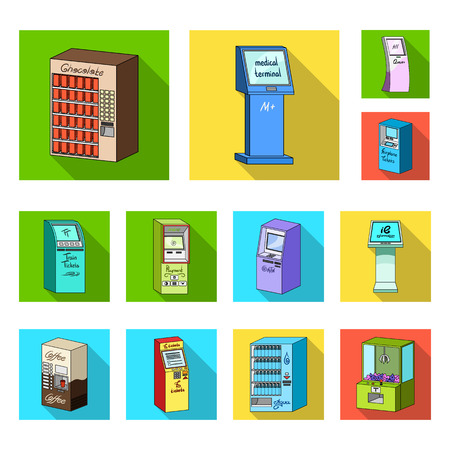 Variety of terminals flat icons in set collection for design. ATM and trading device vector symbol stock web illustration.