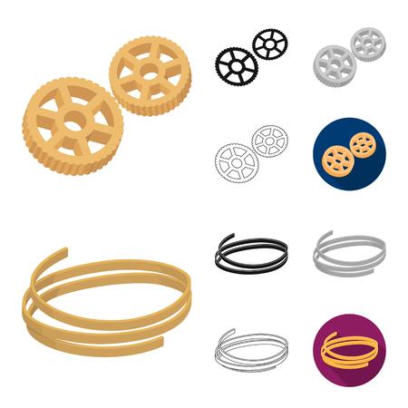 Types of pasta cartoon,black,flat,monochrome,outline icons in set collection for design. Figured macaroni for eating vector symbol stock web illustration. Illustration