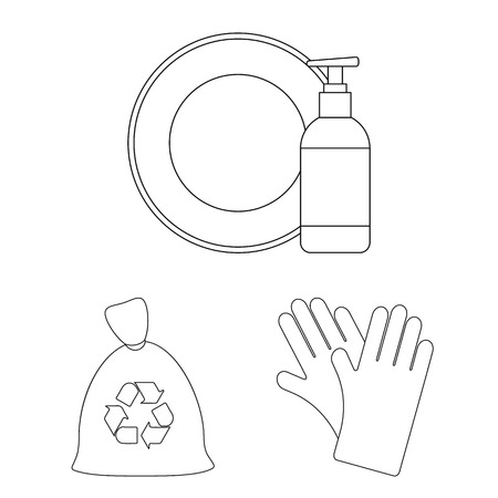 Cleaning and maid outline icons in set collection for design. Equipment for cleaning vector symbol stock web illustration. Stock Illustratie