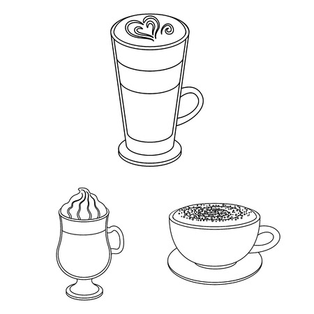 Different kinds of coffee outline icons in set collection for design. Coffee drink vector symbol stock web illustration. Illustration