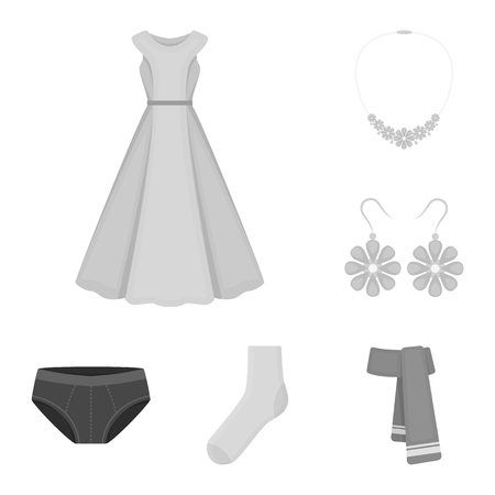 Clothes and accessories monochrome icons in set collection for design. Shoes and decoration vector symbol stock web illustration.