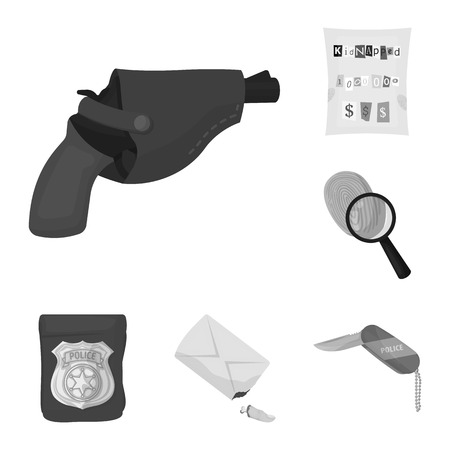 Detective agency monochrome icons in set collection for design. Crime and investigation vector symbol stock web illustration. Illustration