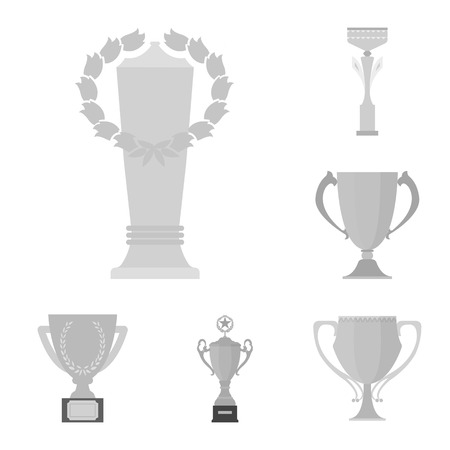 Gold Cup monochrome icons in set collection for design. Winners Cup vector symbol stock web illustration. 일러스트