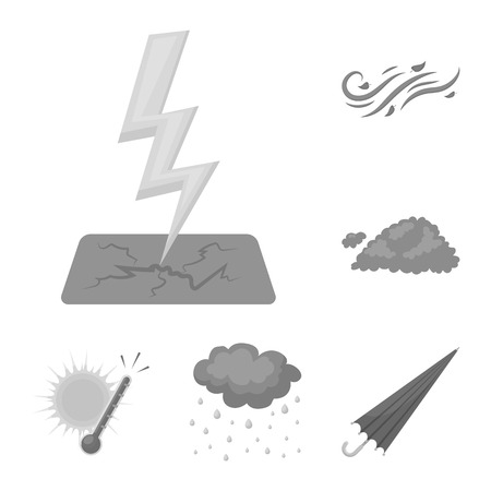 Different weather monochrome icons in set collection for design.Signs and characteristics of the weather vector symbol stock web illustration. Illustration