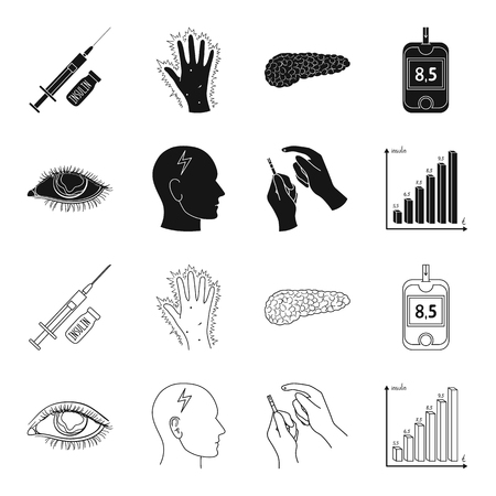 Poor vision, headache, glucose test, insulin dependence. Diabetic set collection icons in black,outline style vector symbol stock illustration web.  イラスト・ベクター素材