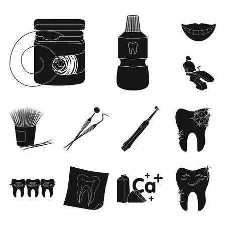 Dental care black icons in set collection for design. Care of teeth vector symbol stock web illustration.