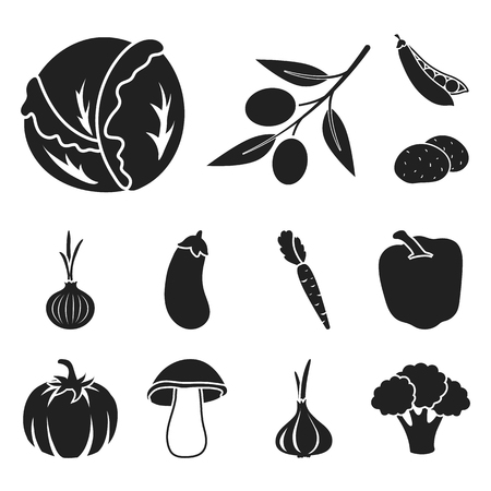 Different kinds of vegetables black icons in set collection for design. Vegetables and vitamins vector symbol stock web illustration.