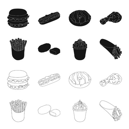 Food, refreshments, snacks and other web icon in black,outline style.Packaging, paper, potatoes icons in set collection.
