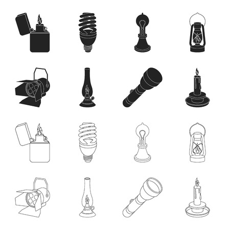 Searchlight, kerosene lamp, candle, flashlight.Light source set collection icons in black,outline style vector symbol stock illustration web.