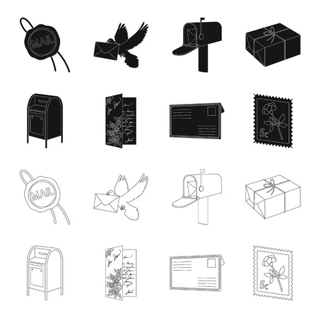 Mailbox, congratulatory card, postage stamp, envelope.Mail and postman set collection icons in black,outline style vector symbol stock illustration web. Archivio Fotografico - 101702013