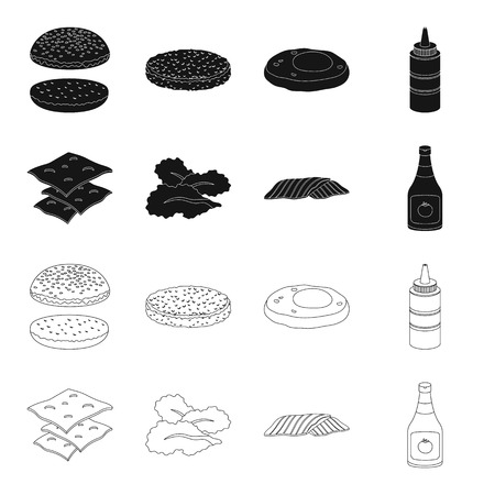 Burger and ingredients black,outline icons in set collection for design. Burger cooking vector symbol stock web illustration.