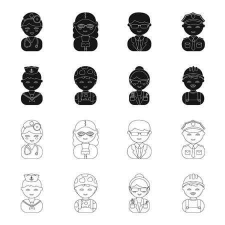 Sailor, soldier, scientist, builder.Profession set collection icons in black,outline style vector symbol stock illustration web. Çizim