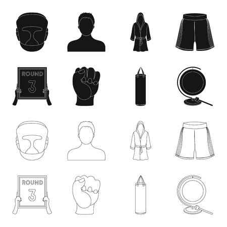 Boxing, sport, round, hand. Boxing set collection icons in black,outline style vector symbol stock illustration web.