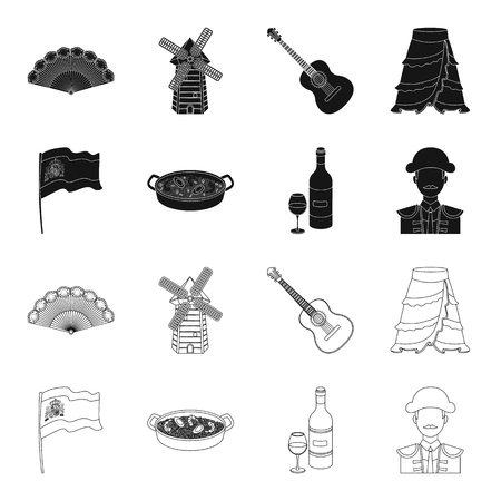 Flag with the coat of arms of Spain, a national dish with rice and tomatoes, a bottle of wine with a glass, a bullfighter, a matador. Spain country set collection icons in black,outline style vector symbol stock illustration web.