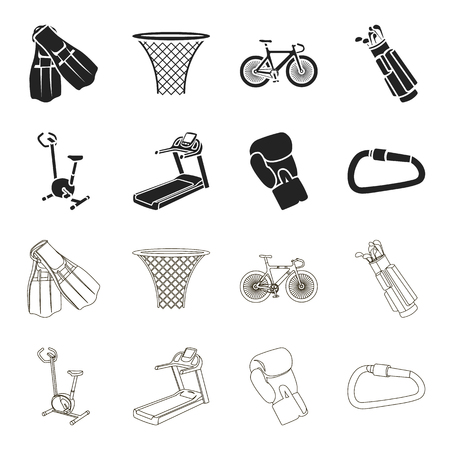 Exercise bike, treadmill, glove boxer, lock. Sport set collection icons in black,outline style vector symbol stock illustration web.