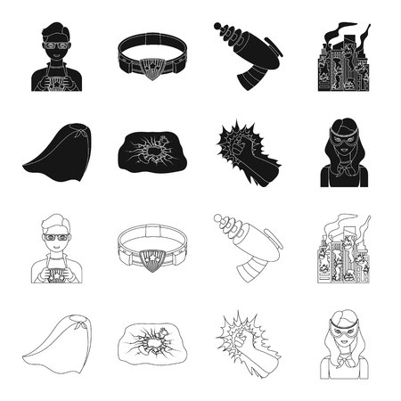 Cloak, red, clothes, and other web icon in flat style. Super, strength, girl, icons in set collection.