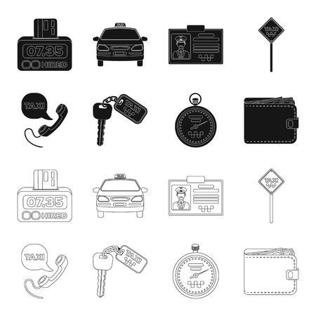 Mobilteil mit der Aufschrift eines Taxis, Autoschlüssel mit Schlüsselanhänger, Stoppuhr mit Fahrpreis, Geldbörse mit Geld, Dollar. Taxiset-Sammlungsikonen in Schwarz, Entwurfsartvektorsymbolvorratillustrationsweb.