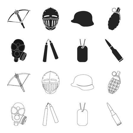 Gas mask, nunchak, ammunition, soldier token. Weapons set collection icons in black,outline style vector symbol stock illustration web.