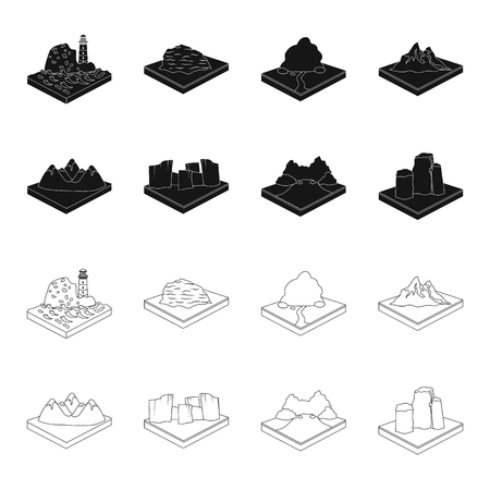Mountains, rocks and landscape. Relief and mountains set collection icons in black,outline style isometric vector symbol stock illustration web. Illusztráció