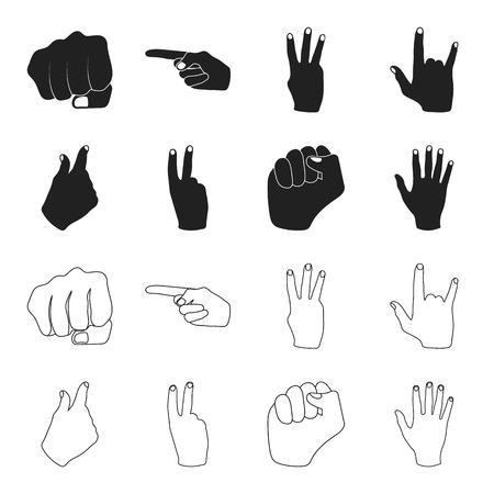 Open fist, victory, miser. Hand gesture set collection icons in black,outline style vector symbol stock illustration web. Ilustração