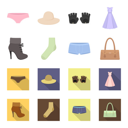 Women boots, socks, shorts, ladies bag. Clothing set collection icons in cartoon,flat style vector symbol stock illustration web.