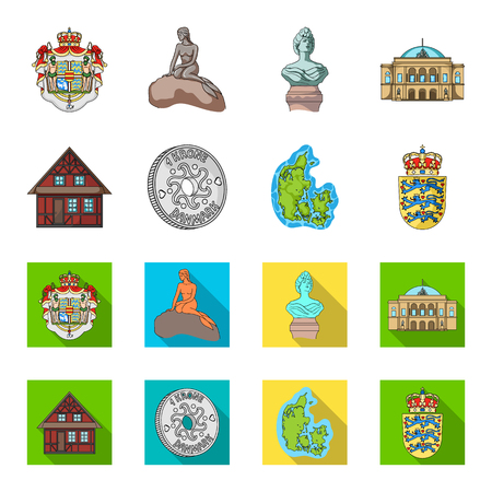 House, residential, style, and other web icon in cartoon,flat style. Country, Denmark, sea, icons in set collection.