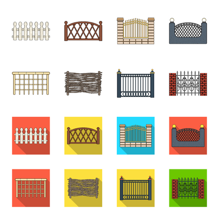 A fence of metal and bricks,wooden palisade. A different fence set collection icons in cartoon,flat style vector symbol stock illustration web. Illustration
