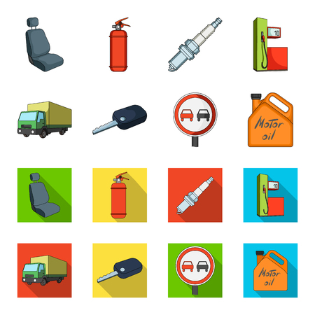 Truck with awning, ignition key, prohibitory sign, engine oil in canister, Vehicle set collection icons in cartoon,flat style vector symbol stock illustration web.