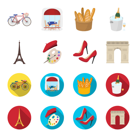 Eiffel tower, brush, hat .France country set collection icons in cartoon,flat style vector symbol stock illustration web. Illustration