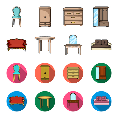 Sofa, armchair, table, mirror .Furniture and home interiorset collection icons in cartoon,flat style vector symbol stock illustration web.
