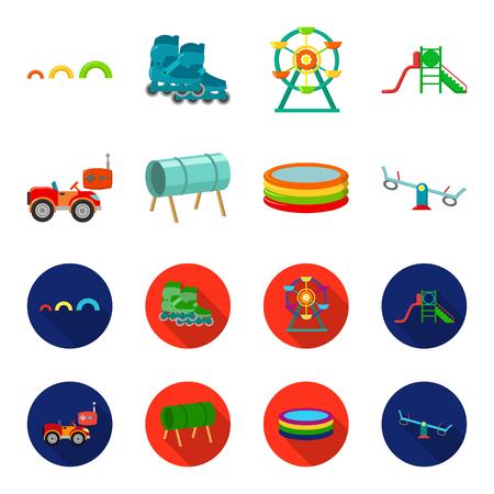 Maszyna do sterowania radiowego, tunelu, trampoliny, huśtawki. Plac zabaw dla dzieci zestaw kolekcji ikon w kreskówce, www ilustracji symbol wektor płaski