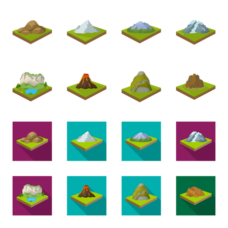 Mountains, rocks and landscape. Relief and mountains set collection icons in cartoon,flat style isometric vector symbol stock illustration web.
