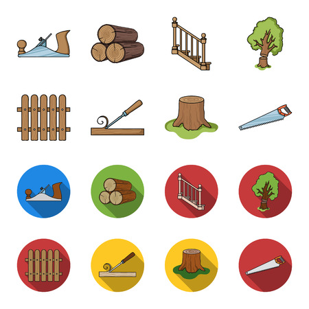Fence, chisel, stump, hacksaw for wood. Lumber and timber set collection icons in cartoon,flat style vector symbol stock illustration web. Ilustração