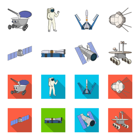 The space station in orbit, the preparation of the launch rocket, the lunar rover on the surface. Space technology set collection icons in cartoon,flat style vector symbol stock illustration web.