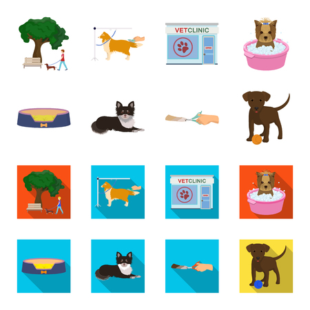Lounger for a pet, clipping of claws in a vet clinic, lying dog, puppy with a ball. Vet clinic and pet,dog care set collection icons in cartoon,flat style vector symbol stock illustration web.