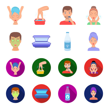 Face mask, solarium, bottle ts lasenom, pimples on face. Skin Care set collection icons in cartoon,flat style vector symbol stock illustration web.