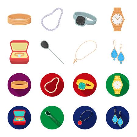 Ring in a case, hair clip, earrings with stones, a cross on a chain. Jewelery and accessories set collection icons in cartoon,flat style vector symbol stock illustration web. Illustration