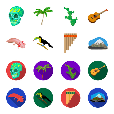 Sampono Mexican musical instrument, a bird with a long beak, Orizaba is the highest mountain in Mexico, axolotl is a rare animal. Mexico country set collection icons in cartoon,flat style vector symbol stock illustration web. Illustration