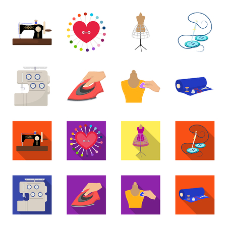 Electric sewing machine, iron for ironing, marking with chalk clothes, roll of fabric and other equipment. Sewing and equipment set collection icons in cartoon,flat style vector symbol stock illustration web.