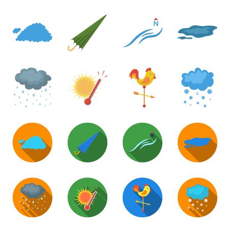 Rain, snow, heat, weathervane. The weather set collection icons in cartoon,flat style vector symbol stock illustration web.