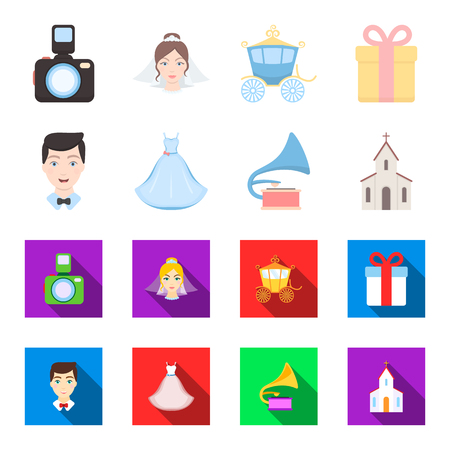Wedding dress, groom, gramophone, church. Wedding set collection icons in cartoon,flat style vector symbol stock illustration web.