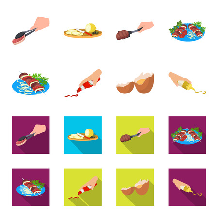 Shish kebab with vegetables, ketchup and mustard, seasoning for food, broken egg. Food and Cooking set collection icons in cartoon,flat style vector symbol stock illustration web.