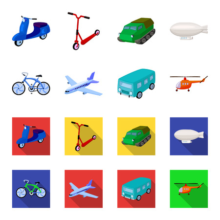 Bicycle, airplane, bus, helicopter types of transport. Transport set collection icons in cartoon,flat style vector symbol stock illustration web. Archivio Fotografico - 101703875