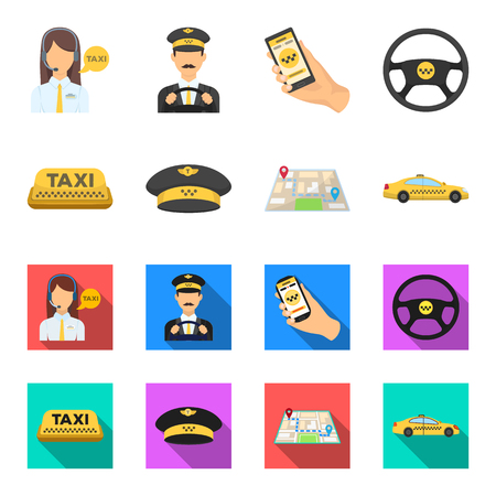 Yellow taxi inscription, a cap with a taxi badge, a map with a mark, a car with checkers. Taxi set collection icons in cartoon,flat style vector symbol stock illustration web.