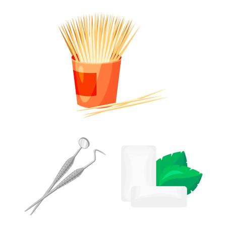 Icone del fumetto di cure odontoiatriche nella raccolta di set per il design. Cura dei denti simbolo d'archivio web illustrazione di vettore.