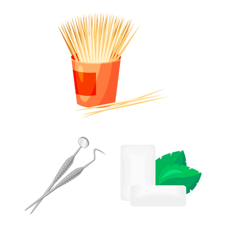 Dental care cartoon icons in set collection for design. Care of teeth vector symbol stock web illustration. Illustration