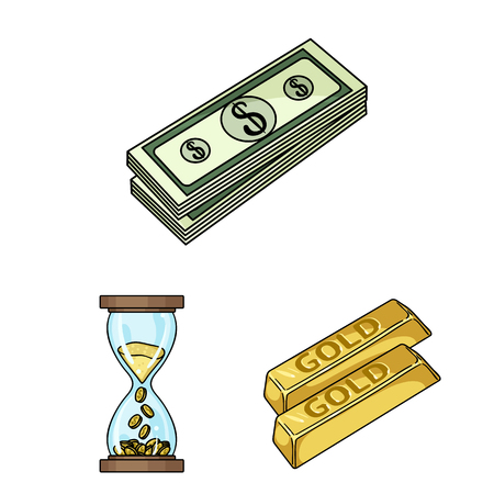 Money and Finance cartoon icons in set collection for design. Business and Success vector symbol stock web illustration.